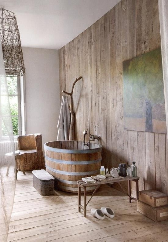 39 cool rustic bathroom designs digsdigs for Idee deco lambris mural