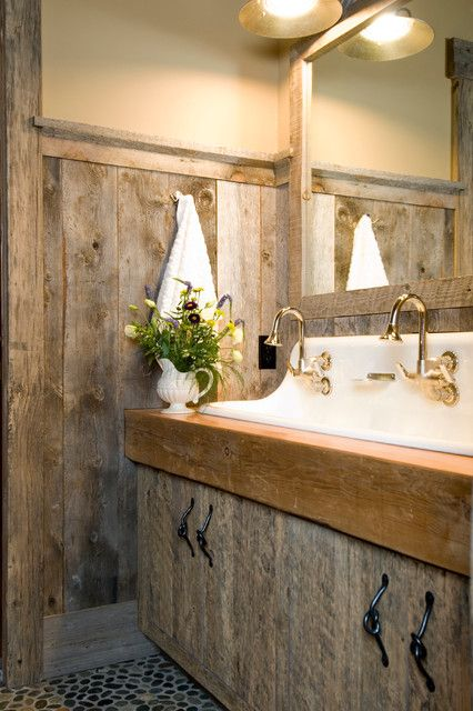 39 cool rustic bathroom designs digsdigs for Meuble salle de bain rustique