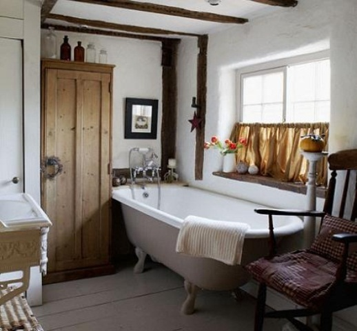 White Cottage Rustic Bathroom Oak Wood Ceiling Beams Freestanding Roll Top Bath Painted Floorboards Antique Wardrobe Window With Half Curtain  Real Home CH&I 11/2009 Pub Orig