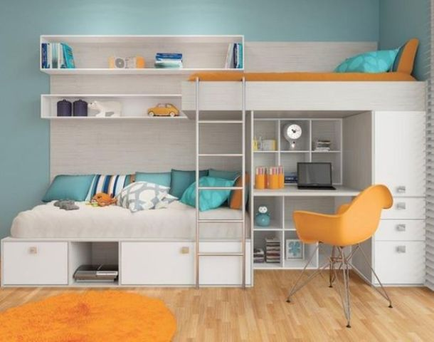 a bright yet small shared teen bedroom with neutral furniture, bright bedding and a bold chair