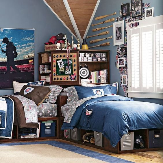 42 Cool Shared Teen Boy Rooms Décor Ideas - DigsDigs on Teenage Room Colors For Guys  id=11426
