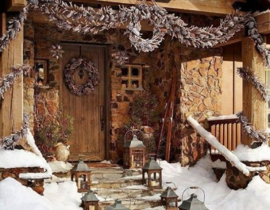 Decorating with natural wreaths, garlands and lanterns is great for winter time.