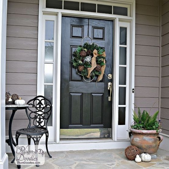 Wreaths is the most space saving way to decorate your front porch. Besides you can change them for different seasons and holidays.