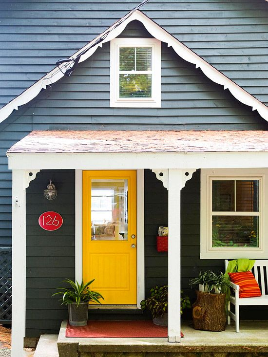 Choosing the right color for a front door is really important part of a front porch's design.