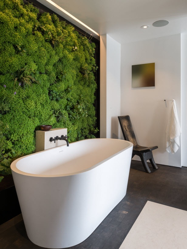 37 cool spring moss outdoor and indoor d cor ideas digsdigs for Bathroom decor green walls