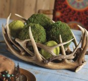 antlers with moss balls are a nice spring decoration or centerpiece with a strong woodland feel