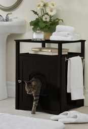 a black storage coffee table with an entrance and a cat litter box and some usual human stuff on top