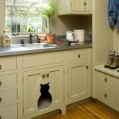 a sink vanity in your kitchen can become a litter box cover, just cut out an entrance you want