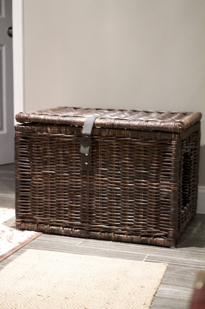 a woven box with a kitty toilet inside and a simple entrance is easy to clean   just open the lid
