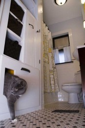 a neutral bathroom with a storage unit and a cat cabinet built-in in the lower part plus a simple entrance for a cat
