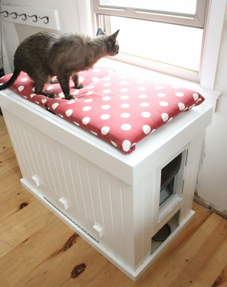 a white storage cabinet with a polka dot cushion on top and a cat litter box inside