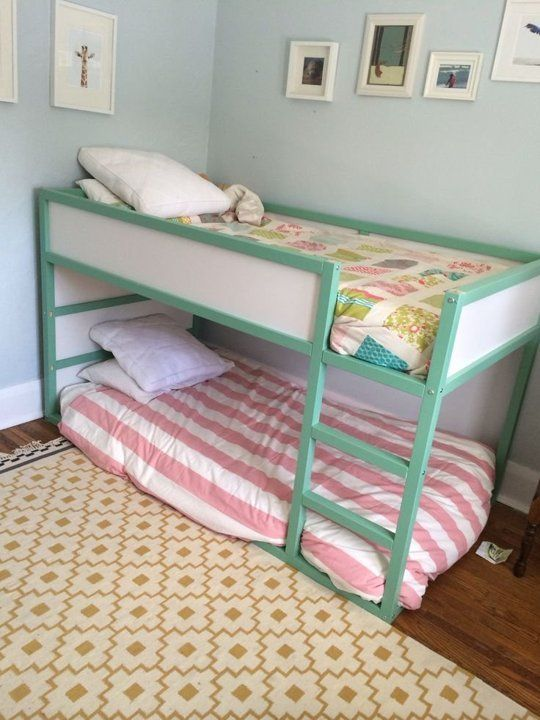 simple ikea kura upgrade with green paint - Ikea Shared Kids Room