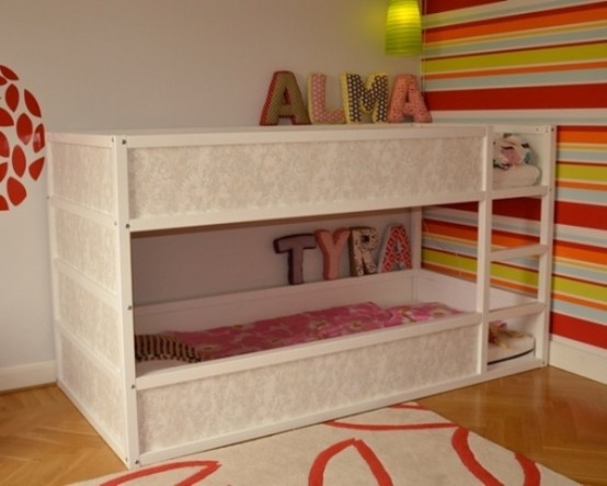 Unique EASY IKEA Kura bed hack with a wallpaper