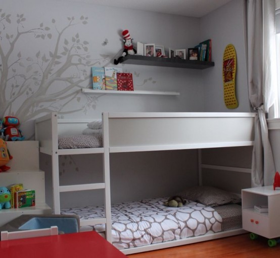White-gray IKEA Kura for a neutral kids room