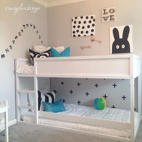 Elegant All white IKEA Kura for a gray kids room