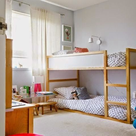 Natural looking IKEA Kura bed in a kids room