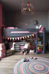 All-black IKEA Kura bed for a girls room