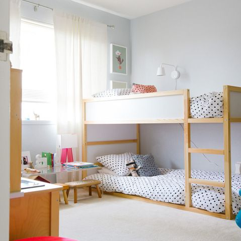 ikea kura in a neutral colored kids room - Ikea Shared Kids Room