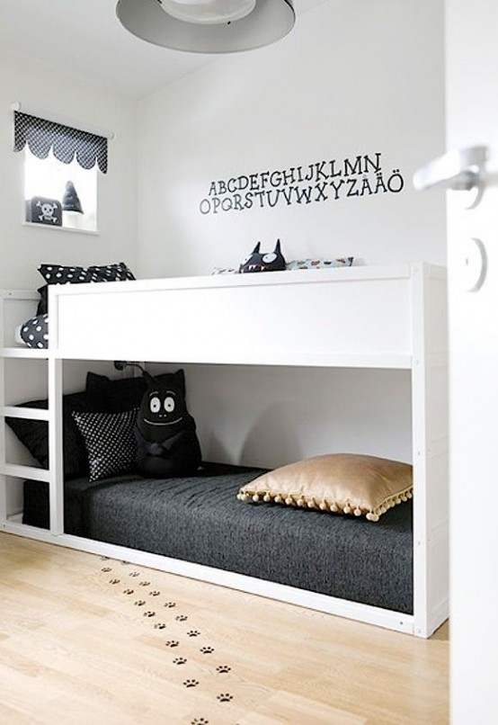 All white IKEA Kura bed for Scandinavian-like kids room