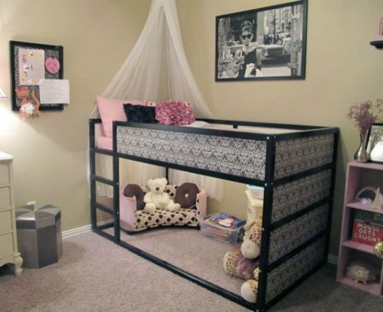 IKEA Kura Bed upgraded with paint and wallpaper