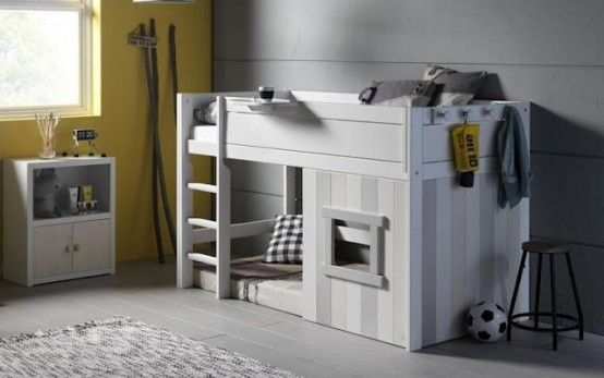 Cool IKEA Kura bed turned into a playhouse in white-gray colors