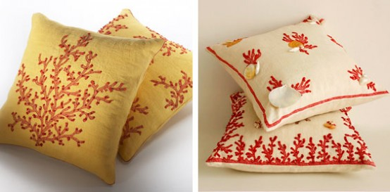 Coral Inspired Linen Pillows