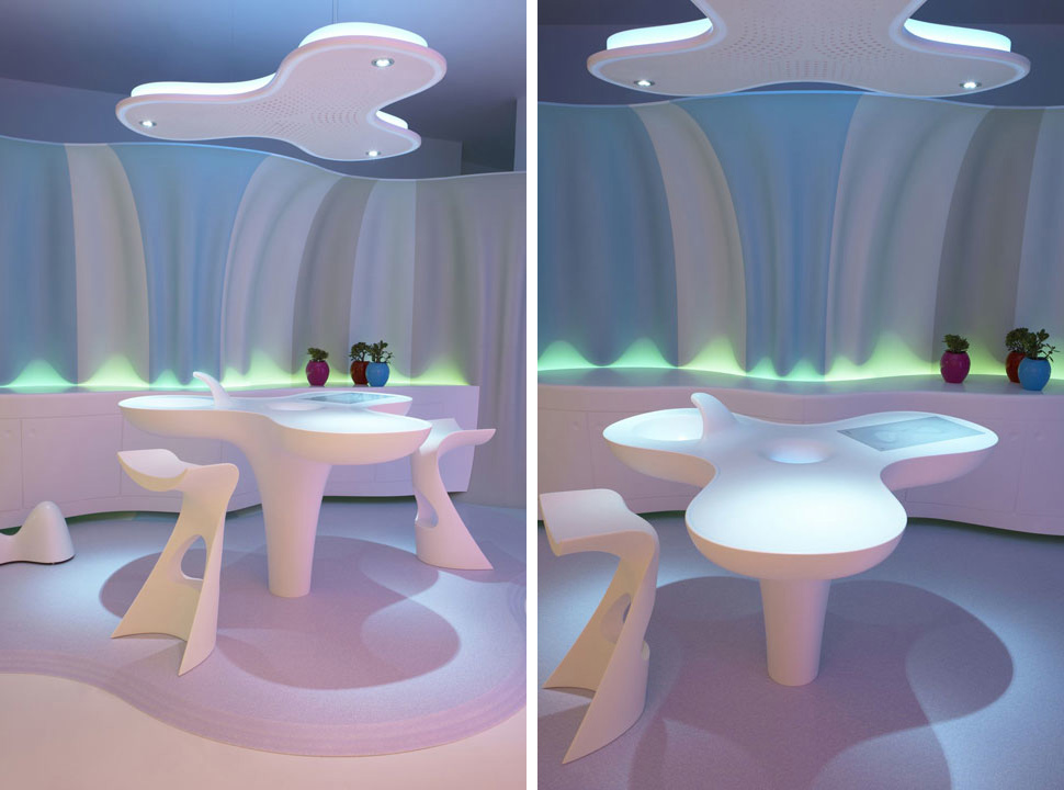 Futuristic home made of corian and designed by karim rashid digsdigs - Futuristic home interior ...