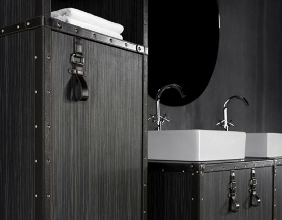 Cosmopolitan Style Bathroom With Suitcase Like Furniture