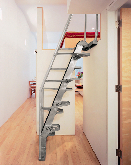 This loft stair is made by Lapeyre Stair. It is very cost-effective and occupies very little space. You can come down without holding the rail.