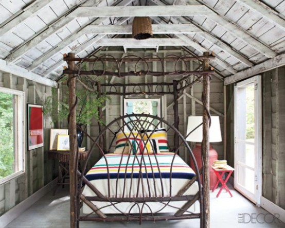 Cottage Style Bedroom With A Twig Bed