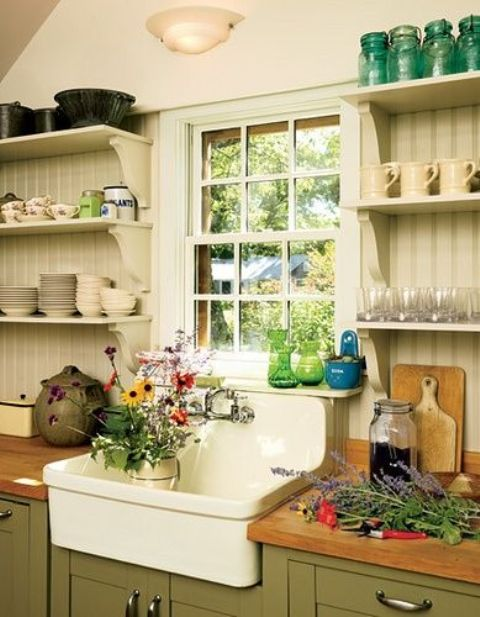 Open shelving works extremely well on farmhouse kitchens because there are usually a lot of cool stuff you could display there.