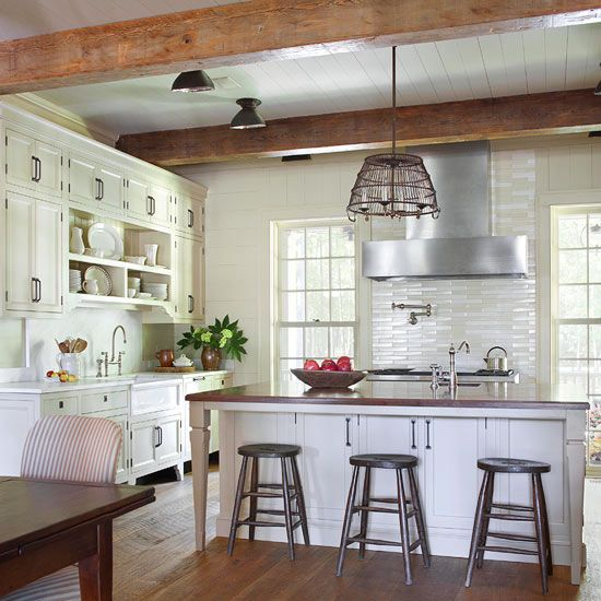 Farmhouse Kitchen Design Ideas 10 country blue and white linen cabinet curtains In Contemporary Farmhouse Kitchens You Could Combine Timeless Cabinets Exposed Wooden Beams And Modern Looking