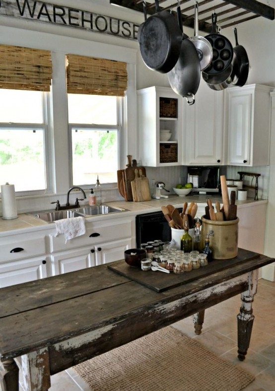 An Antique Weathered Table Could Become A Perfect Farmhouse Kitchen Island.
