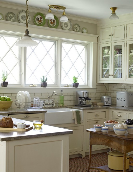 window trims and moldings fit farmhouse kitchens really well - Images Of Small Kitchen Decorating Ideas