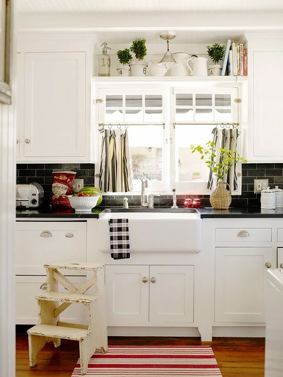 black and white color theme works not only with modern interiors but with farmhouse like - Farmhouse Kitchen Decorating Ideas