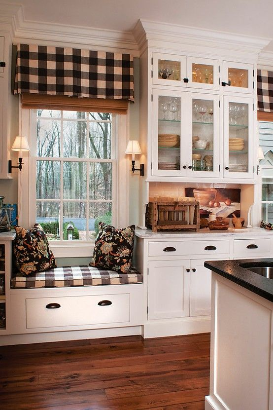checked curtains is one of those things that would work for farmhouse style nicely - Farmhouse Kitchen Decorating Ideas