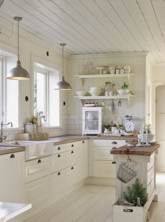 35 cozy and chic farmhouse kitchen d cor ideas digsdigs - Papier peint shabby chic ...