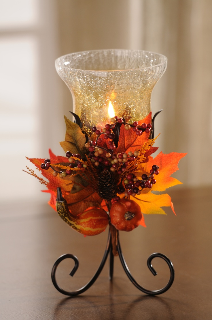Source pinterest for Thanksgiving centerpieces with candles