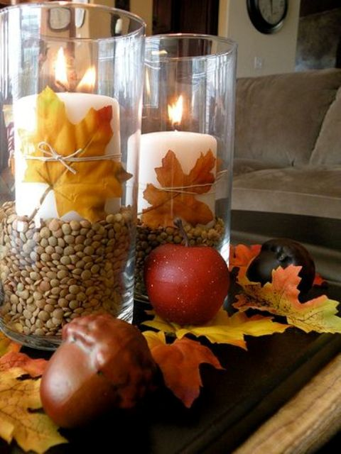 27 cozy and cute candle d cor ideas for fall digsdigs for Thanksgiving centerpieces with candles