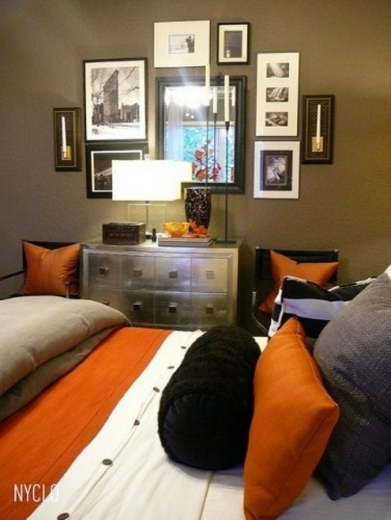 a bright fall bedroom in muted green, grey and orange plus metallics for a bold fall-like look