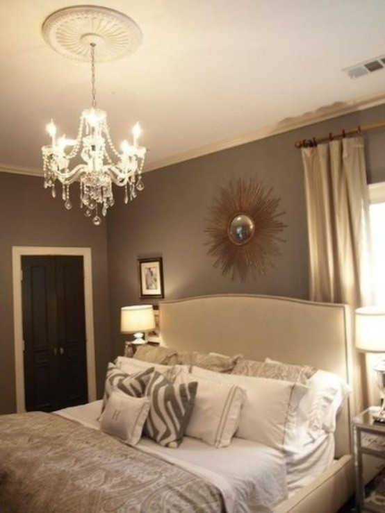 a refined neutral bedroom done in greys, beige and creamy shades plus crystal and metallics for a welcoming fall look