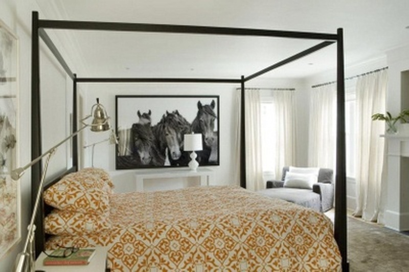 a neutral bedroom refreshed with mustard printed textiles for the fall is a cool idea