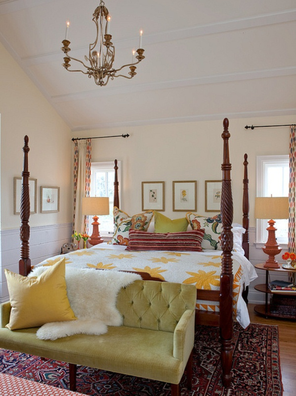 a bright and colorful fall bedroom with touches of green, yellow, burgundy and rust plus various patterns