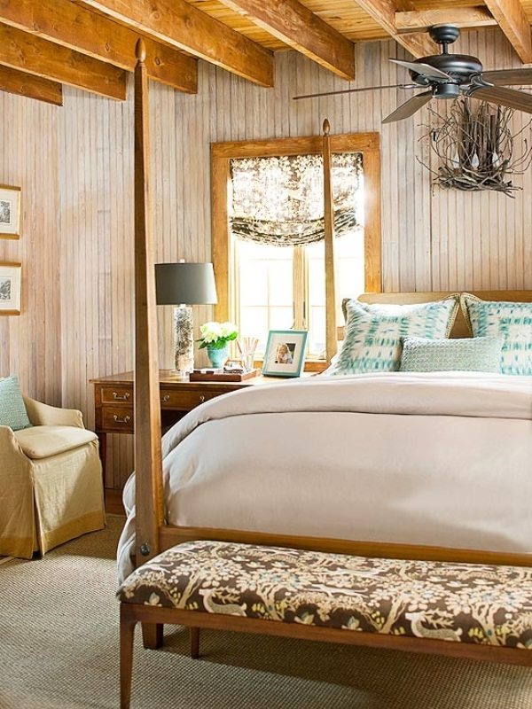 neutrals, beige and brown plus much natural wood make this bedroom really welcoming and fall like