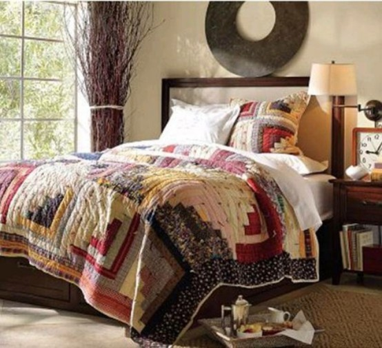 bright jewel tones and shades of brown for a fall-like bedroom with a boho feel