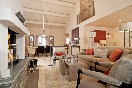 Cozy And Inviting Beige Interior With Lots Of Wood