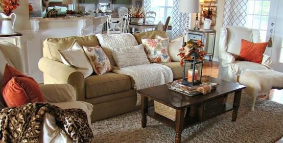 bright orange pillows, printed pillows, a neutral rug for an easy fall touch