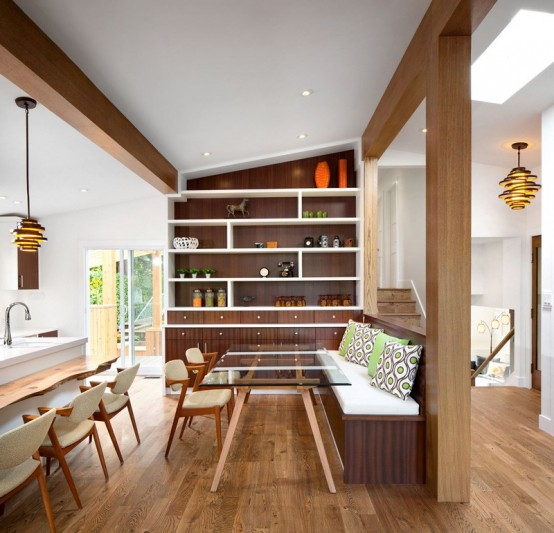 Cozy And Lively Retro House In Brown And Light Green