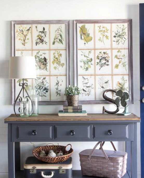 52 Cozy And Simple Farmhouse Entryway Décor Ideas