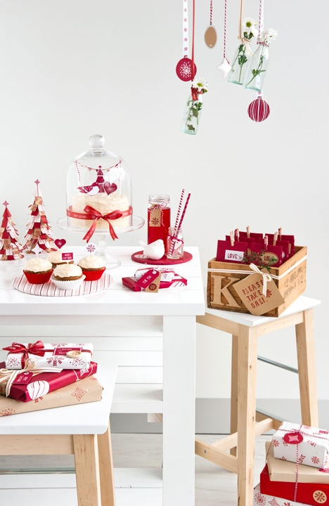 red and white Christmas decorations, hanging ornaments, gift boxes will make your kitchen feel like holidays